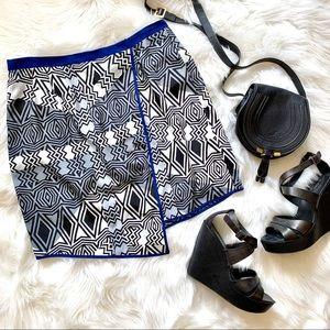 Bar III Asymmetrical Geometric Print Skirt L